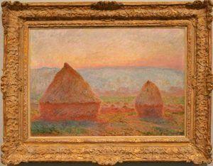 Claude Monet, Heuschober bei Giverny, Sonnenuntergang, 1889, Öl auf Leinwand, 65 × 92cm, The Museum of Modern Art, Saitama, Saitama City, Präfektur Saitama.