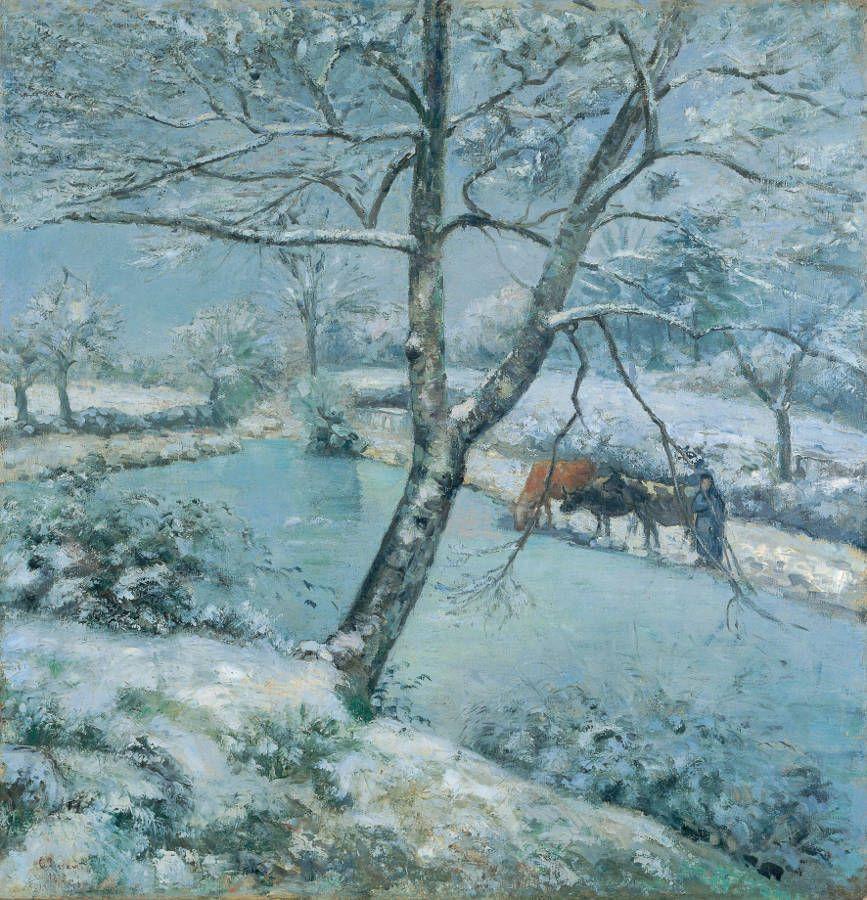 Camille Pissarro, Der Winter in Montfaucault (Schneeefekt), 1875, Öl auf Leinwand, 114,3 × 109,9cm, Yoshino Gypsum Art Foundation (deposited at Yamagata Museum of Art).