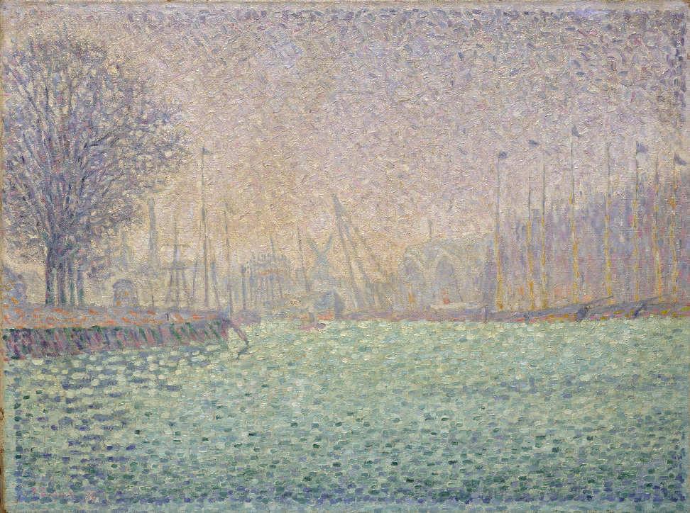 Paul Signac, Das Hafenbecken von Flushing,1896, Öl auf Leinwand, 41,1 × 55cm, Pola Museum of Art, Hakone, Präfektur Kanagawa.