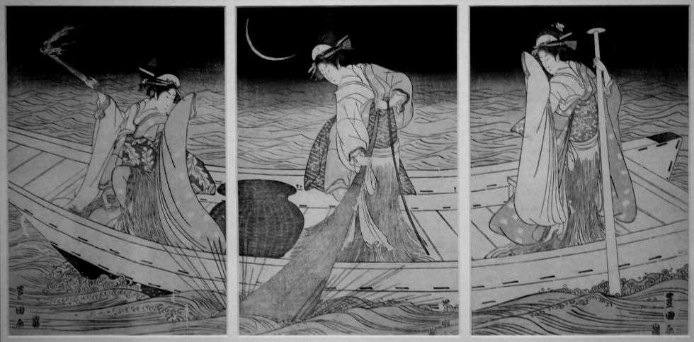 Utagawa Toyokuni, Drei Frauen in einem Boot, die mit einer Fackel fischen, undatiert, Holzschnitt, 36,3 × 76cm Fondation Claude Monet – Giverny.