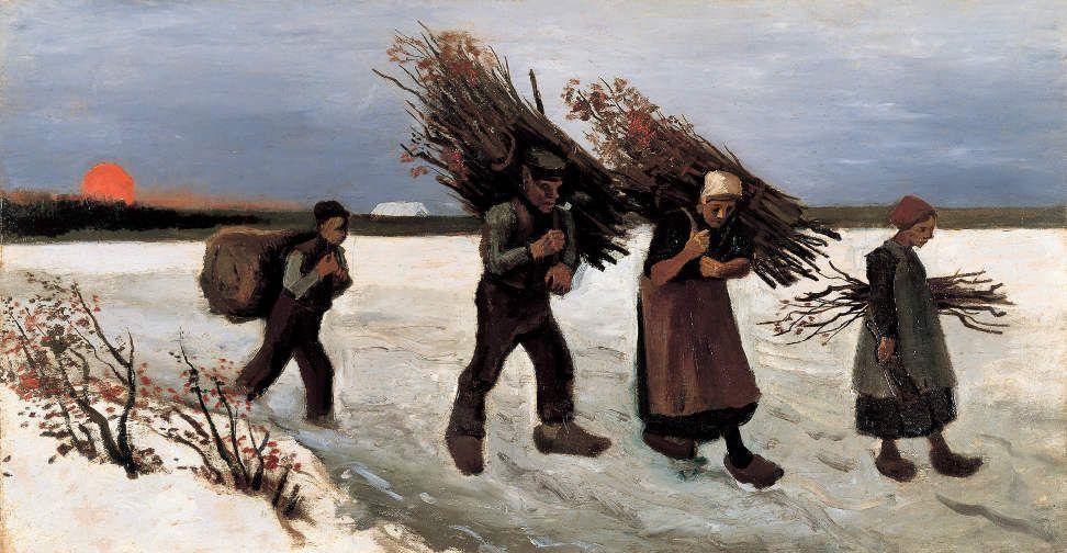 Vincent van Gogh, Paysans ramassant des bûches sur le champ de neige, 1884, Öl auf Leinwand, Yoshino Gypsum Foundation, Tokyo.