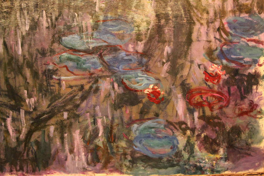 Claude Monet, Seerosen (Nymphéas), Detail, 1908, Öl auf Leinwand, 101 × 90cm, Tokyo Fuji Art Museum, Hachiōji.