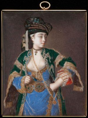 Jean-Etienne Liotard, Laura Tarsi, um 1741, Aquarell und Gouache auf Elfenbein, 9,6 x 7,7 cm, Lent by the Syndics of the Fitzwilliam Museum, Cambridge, inv. PD9-2006, Photo (c) Fitzwilliam Museum, Cambridge.