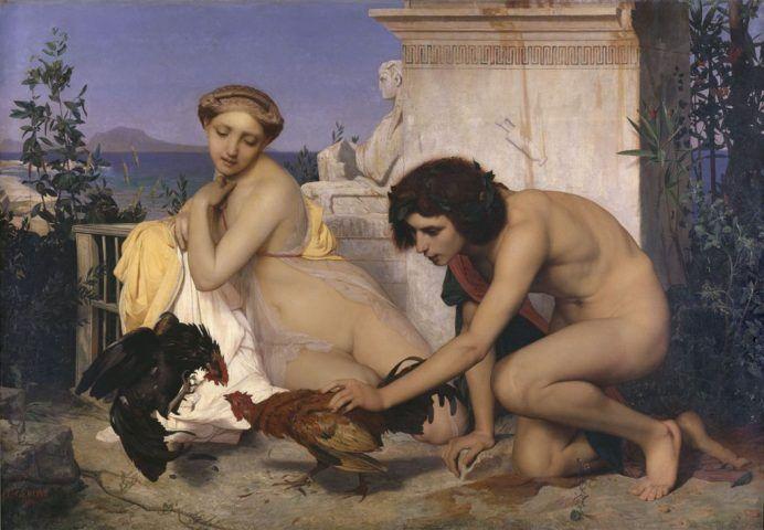 Jean-Léon Gérôme, Junge Griechen lassen Hähne kämpfen (Hahnenkampf), 1846, Huile sur toile, 143 x 204 cm, Paris, Musée d'Orsay © RMN (Musée d'Orsay) / Hervé Lewandowski.
