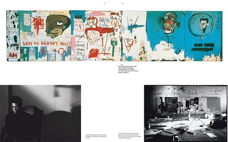 Jean-Michel Basquiat von Hatje Cantz, 2010, S. 128-129, oben Basquiat, Life Like Son of Barney Hill, 1983 (Mugrabi Collection).