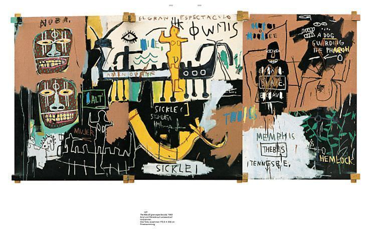 Jean-Michel Basquiat von Hatje Cantz, 2010, S. 130-131, Basquiat, The Nile (El gran espectaculo), 1983 (Privatsammlung).