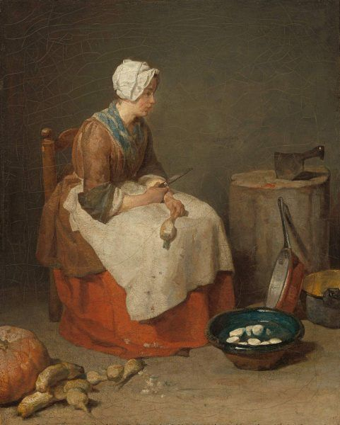 Jean Siméon Chardin, Die Rübenputzerin, 1738, Öl auf Leinwand, 46.2 x 37.5 cm, (The National Gallery, Samuel H. Kress Collection, Washington, 1952.5.38)