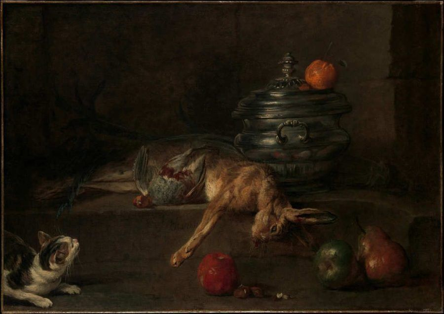 Jean Siméon Chardin, Die silberne Terrine, um 1728–1730, Öl auf Leinwand, 76.2 x 108 cm (The Metropolitan Museum, Fletcher Fund, 1959, New York, Inv.-Nr. 59.9)