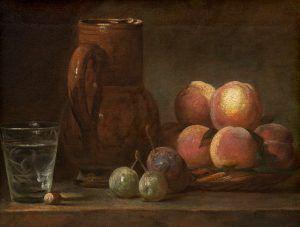 Jean Siméon Chardin, Früchte, Krug und ein Glas, um 1726–1728, Öl auf Leinwand, 33.5 x 43 cm. Gerahmt: 49.5 x 59.4 x 7.6 cm (The National Gallery, Chester Dale Collection, Washington, 1943.7.4)