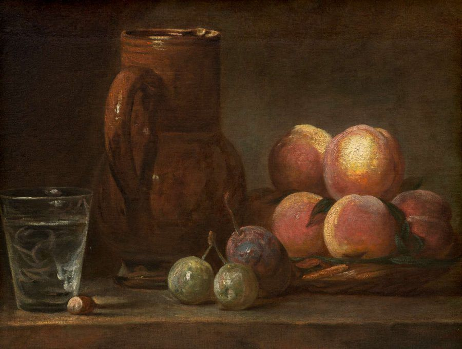 Jean Siméon Chardin, Früchte, Krug und ein Glas, um 1726–1728, Öl auf Leinwand, 33.5 x 43 cm. Gerahmt: 49.5 x 59.4 x 7.6 cm (The National Gallery, Chester Dale Collection, Washington, 1943.7.4)