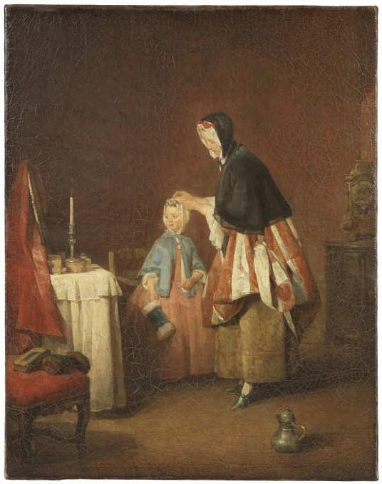 Jean Siméon Chardin, Die Morgentoilette, um 1741, Öl auf Leinwand, 49 x 39 cm (Nationalmuseums, Stockholm)