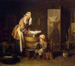 Jean Siméon Chardin, Die Wäscherin, um 1733, Öl auf Leinwand, 37,5 x 42,7 cm (Eremitage, St. Petersburg)