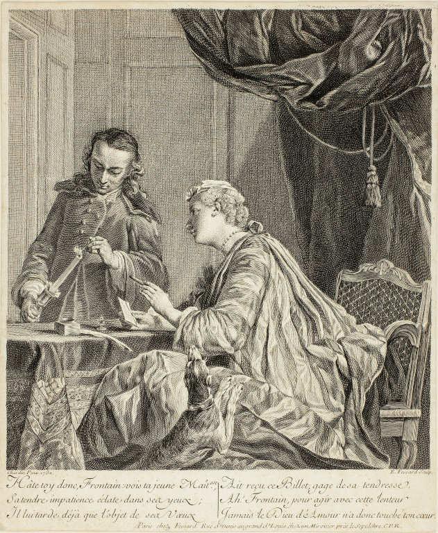 Étienne Fessard nach Jean Baptiste Siméon Chardin, Briefsieglerin, 1738, Kupferstich, 24,8 x 23 cm (Art Institute of Chicago, The Amanda S. Johnson and Marion J. Livingston Fund, 2010.60)