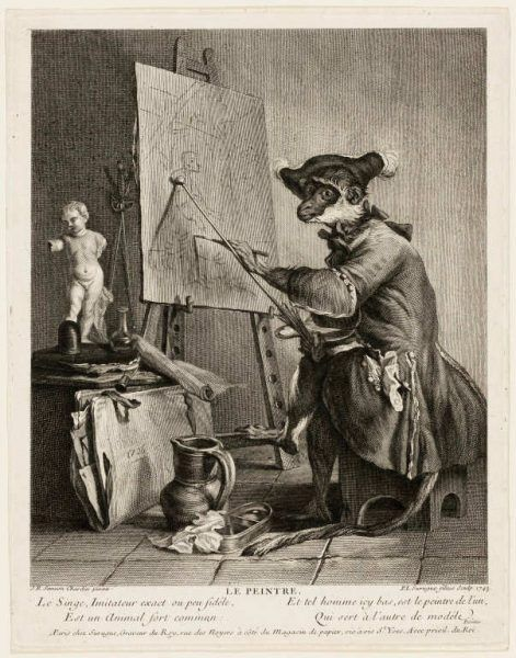 Pierre-Louis de Surugue nach Jean Baptiste Siméon Chardin, Der Affe als Maler, 1743, Kupferstich, 27,7 x 22,8 cm (Art Institute of Chicago, Charles Greene Fund, 1958.551)