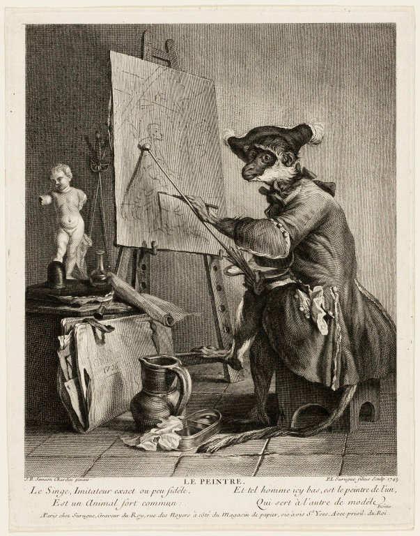 Pierre-Louis de Surugue nach Jean Baptiste Siméon Chardin, Der Affe als Maler, 1743, Kupferstich, 27,7 x 22,8 cm (Art Institute of Chicago, Charles Greene Fund, 1958.551)