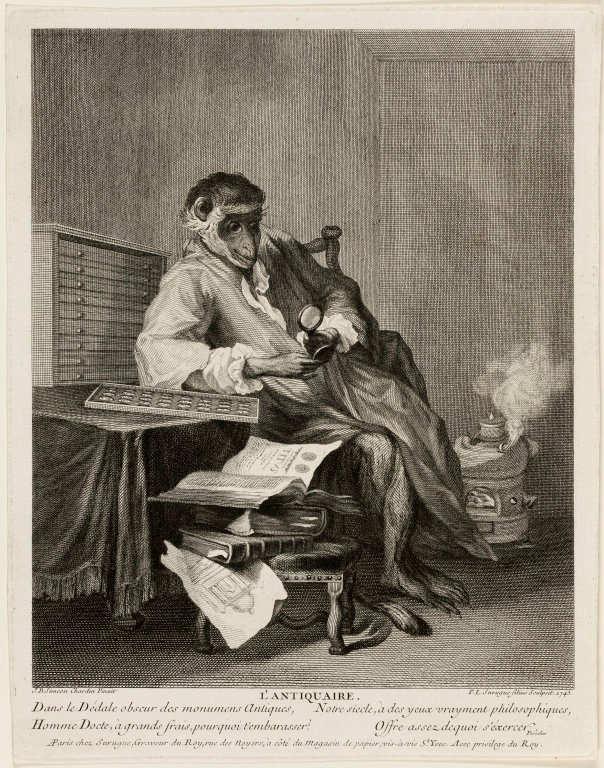 Pierre-Louis de Surugue nach Jean Baptiste Siméon Chardin, Der Affe als Antiquar, 1743, Kupferstich, 27,6 x 22,8 cm (Art Institute of Chicago, Charles Greene Fund, 1958.552)