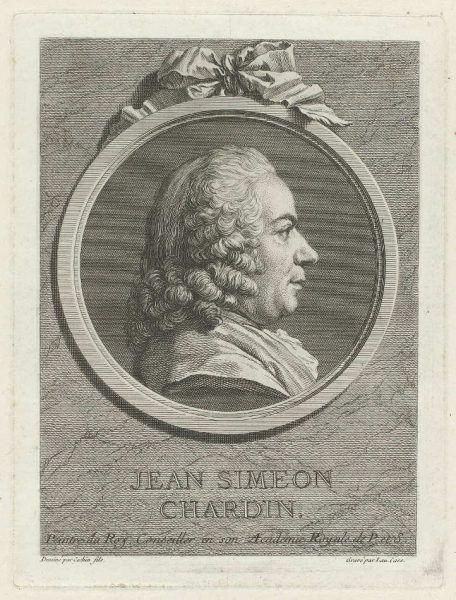 Laurent Cars nach Charles Nicolas Cochin (II), Porträt Jean Simeon Chardin, um 1750–vor 1771 (Rijksmuseum)