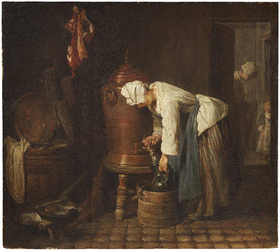 Jean Siméon Chardin, Die Frau am kupfernen Wasserfass, 1733–1735, Öl auf Eiche, 37,6 x 42 cm (Nationalmuseums, Stockholm)
