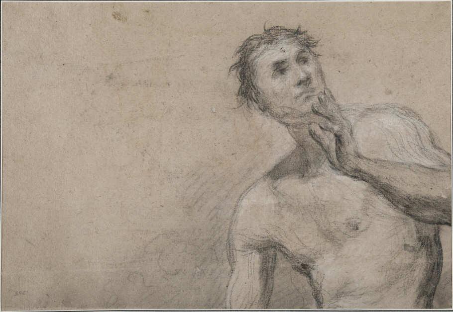 Jean Siméon Chardin, Männlicher Akt, gerahmt 46,7 x 59,7 x 3,5 cm (Nationalmuseums, Stockholm)
