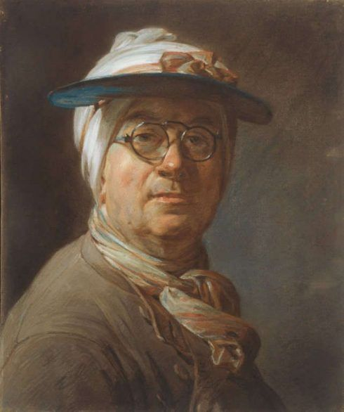 Jean Siméon Chardin, Selbstbildnis mit Visor, um 1776, Pastell, 45,7 x 37,4 cm (Art Institute of Chicago, Clarence Buckingham Collection and the Harold Joachim Memorial Fund, 1984.61)