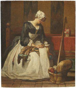 Jean Siméon Chardin, Die Stickerin, Öl auf Eiche, 19 x 16,5 x 0,8 cm (Stockholm, Nationalmuseum)