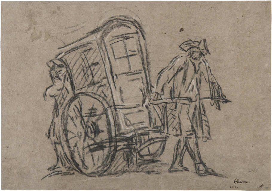 Jean Siméon Chardin, La Vinaigrette oder der Sedan Stuhl, 1720-1722, Kreide auf Papier, 26,3 x 38,3 cm (Nationalmuseums, Stockholm)