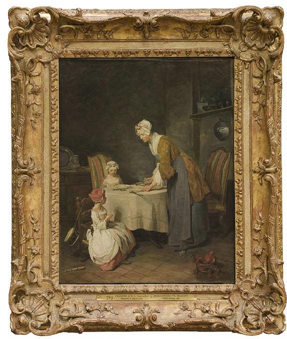 Jean Siméon Chardin, Le Bénédicité, Öl auf Leinwand, 49 x 39 cm (Stockholm, NM 783)