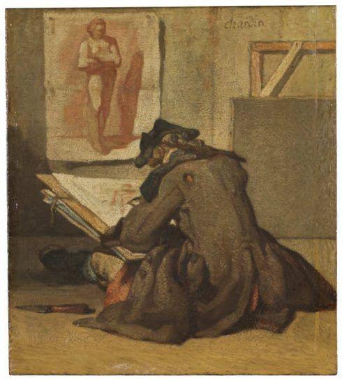 Jean Siméon Chardin, Der junge Zeichner, um 1733/34, Öl auf Leinwand, 18 x 15,5 cm (Nationalmuseum, Stockholm)