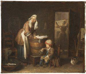 Jean Siméon Chardin, Die Wäscherin, um 1733, Öl auf Leinwand, 37 x 42,5 cm (Nationalmuseums, Stockholm)