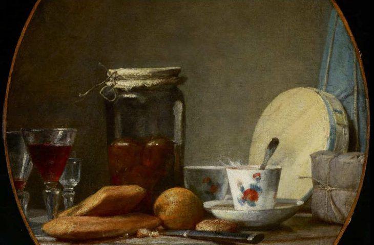 Jean Siméon Chardin, Marillen im Glas, Detail, 1756, Öl auf Leinwand, 57 x 51 cm (oval) (Art Gallery of Ontario, Toronto, Purchase, 1962)