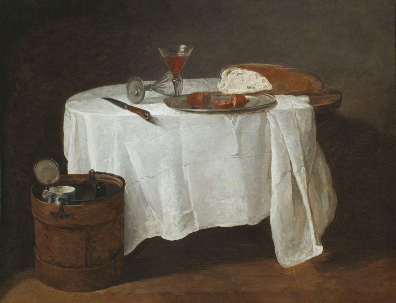 Jean Siméon Chardin, Das weiße Tischtuch, um 1732, Öl auf Leinwand, 96.8 x 123.5 cm (The Art Institute of Chicago, Mr. and Mrs. Lewis Larned Coburn Memorial Collection, 1944.699)
