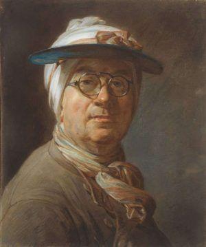 Jean Siméon Chardin, Selbstbildnis mit Visor, um 1776, Pastell, 45,7 x 37,4 cm (Art Institute of Chicago, Clarence Buckingham Collection and the Harold Joachim Memorial Fund, 1984.61)