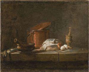 Jean Siméon Chardin, Stillleben mit Küchenutensilien und Gemüse, 33 x 48 cm (Nationalmuseums, Stockholm, NM 7029)