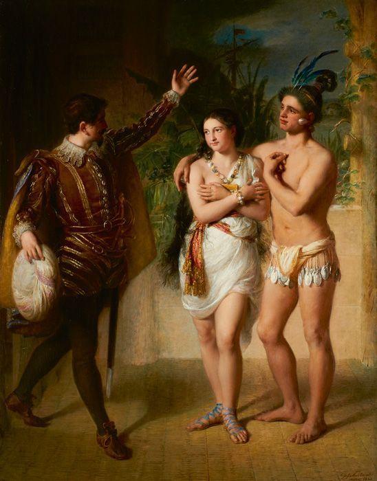 Johann Baptist Reiter, Der Cazike Matinao stellt seine Schwester dem Don Luis vor, 1845, Simon Pevzner, Wien, Courtesy Galerie Wilnitsky, Wien.