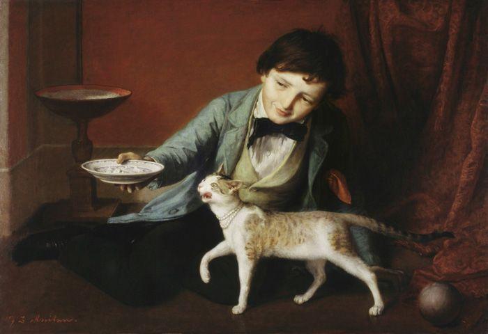 Johann Baptist Reiter, Knabe mit Katze, um 1860, Öl auf Leinwand, 76 x 113 cm, Oberösterreichisches Landesmuseum / Schlossmuseum Linz, Schenkung Kastner, Foto: A. Bruckböck.