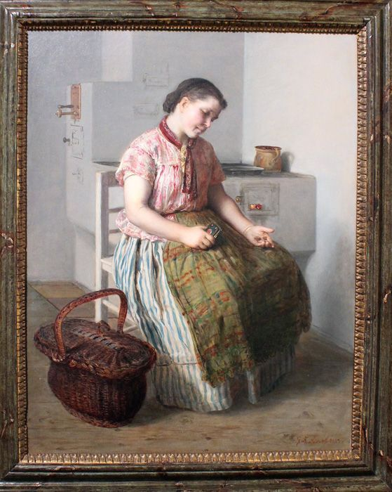 Johann Baptist Reiter, Mädchen beim Ofen, o.J., Privatbesitz, Foto: Alexandra Matzner.