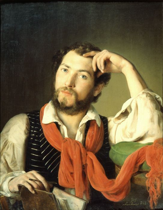 Johann Baptist Reiter, Selbstbildnis mit rotem Schal, 1842, Oberösterreichisches Landesmuseum.