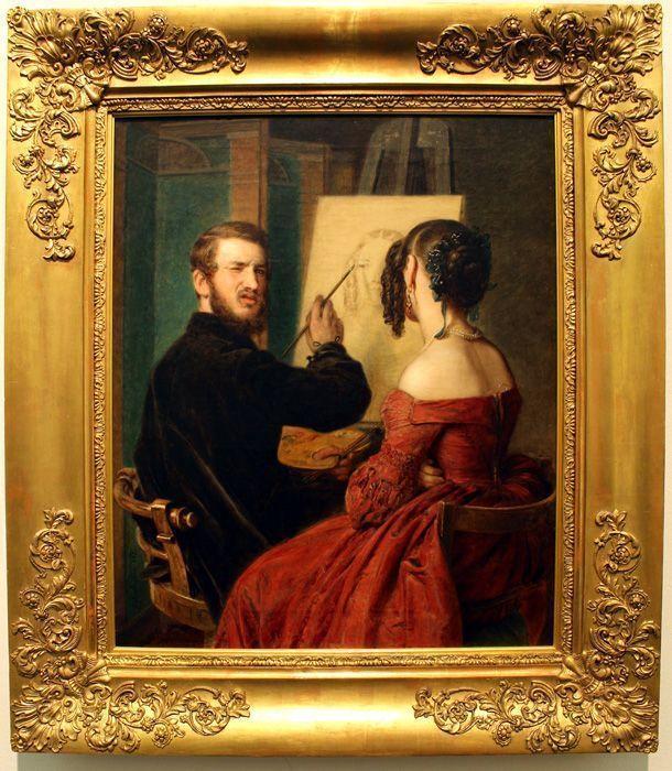 Johann Baptist Reiter, Selbstbildnis beim Porträtieren, 1845, Wien Museum, Foto: Alexandra Matzner.