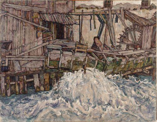 Egon Schiele, Zerfallende Mühle, 1916, Öl auf Leinwand (Land Niederösterreich, Landessammlungen Niederösterreich, Foto: Manfred Thumberger)