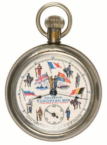 """Taschenuhr Ingersoll """"Souvenir European War""""; 1914; Furtwangen, Deutsches Uhrenmuseum."""