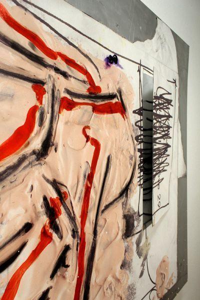 Jürgen Messensee, Spalt der Wirklichkeit, Detail, 2011, Jet, Acryl auf Leinwand, 132.5 x 205 cm, Courtesy d. Künstler © Lena Deinhardstein, Foto: Alexandra Matzner.