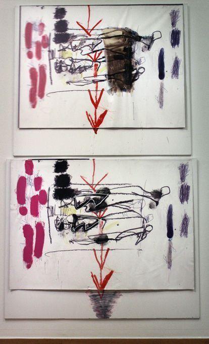 Jürgen Messensee, Zeitpfeil, 2011, Jet, Acryl, 2 Leinwände, 200 x 243 cm, Privatsammlung © Lena Deinhardstein, Foto: Alexandra Matzner.