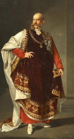 Edmund Pölz, Kaiser Franz Joseph I. im Ornat des Ordens vom Goldenen Vlies, 1893, Öl auf Leinwand, 205 x 114 cm (© Belvedere, Wien)