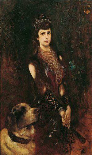 Anton Romako, Kaiserin Elisabeth mit Bernhardinerhund, 1883, Öl auf Holz, 135 x 85 cm (© Belvedere, Wien)