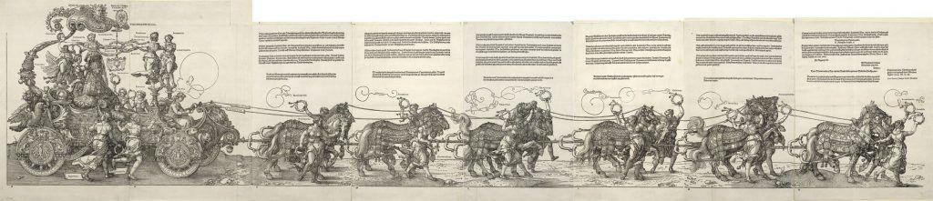 Albrecht Dürer, Der große Triumphwagen, Holzschnitt, 1. Ausgabe, Maße gesamt 45 x 222,8 cm, 1520-1522 © Albertina, Wien.