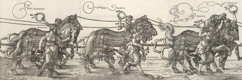 Albrecht Dürer, Der große Triumphwagen, Detail Pferde, Holzschnitt, 1. Ausgabe, 1520-1522 © Albertina, Wien.