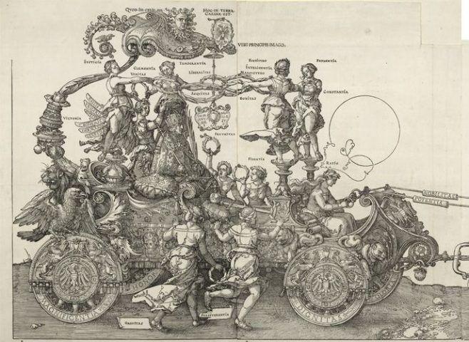Albrecht Dürer, Der große Triumphwagen, Detail Kaiser Maximilian im Wagen, Holzschnitt, 1. Ausgabe, 1520-1522 © Albertina, Wien.
