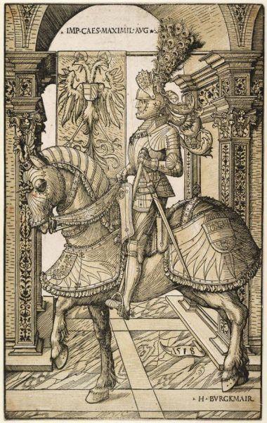 Hans Burgkmair der Ältere, Kaiser Maximilian zu Pferd, 1518 (Albertina, Wien).