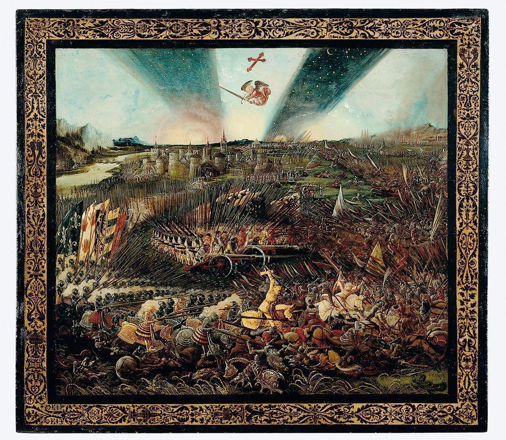 Albrecht Altdorfer, Der Sieg Karls des Großen über die Awaren bei Regenburg, 1518, Malerei auf Holz, 110,5 x 122 cm © Nürnberg, Germanisches Nationalmuseum.