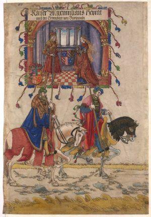 Albrecht Altdorfer, Der Triumphzug Kaiser Maximilians, Die Burgundische Hochzeit (Blatt 49), um 1512-1515, Feder in Braun, Aquarell und Deckfarben, Goldhöhungen, auf Pergament © Albertina, Wien.